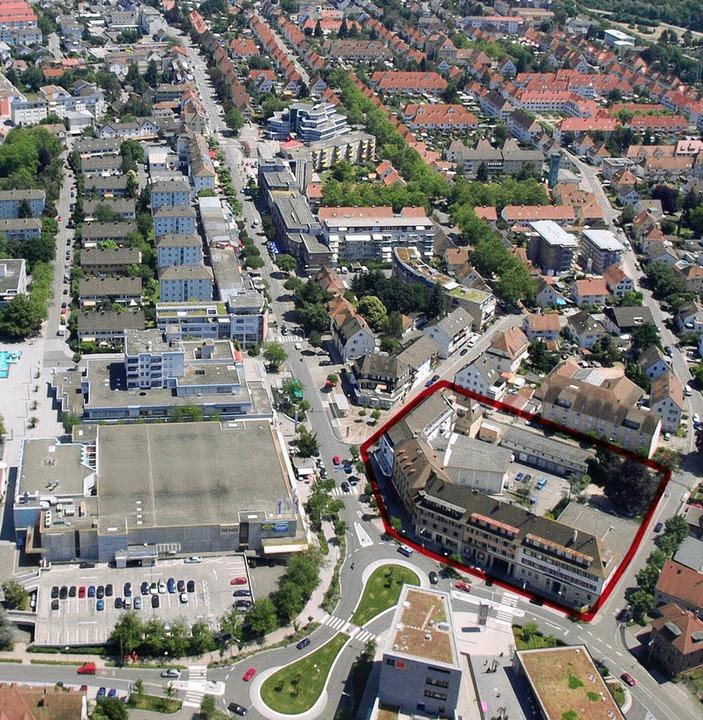 """Das Weiler Zentrum: Ganz unten die Ins...""""Kaufhaus für alle""""-Areal     Foto: Lauber"""
