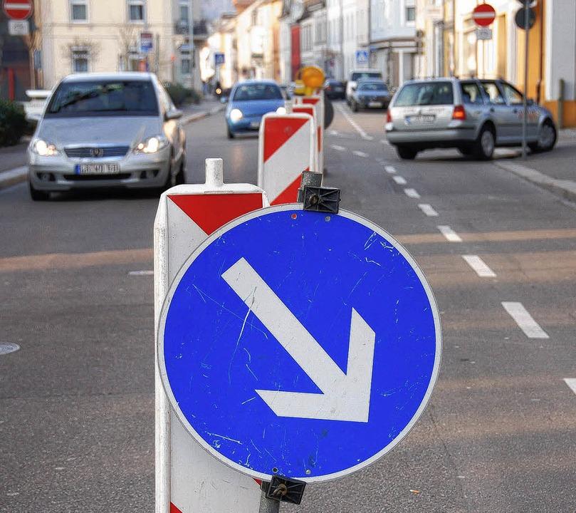 Spitalstraße: Noch immer ist nicht kla...Verkehrsführung endgültig gehen wird.     Foto: Nikolaus Trenz