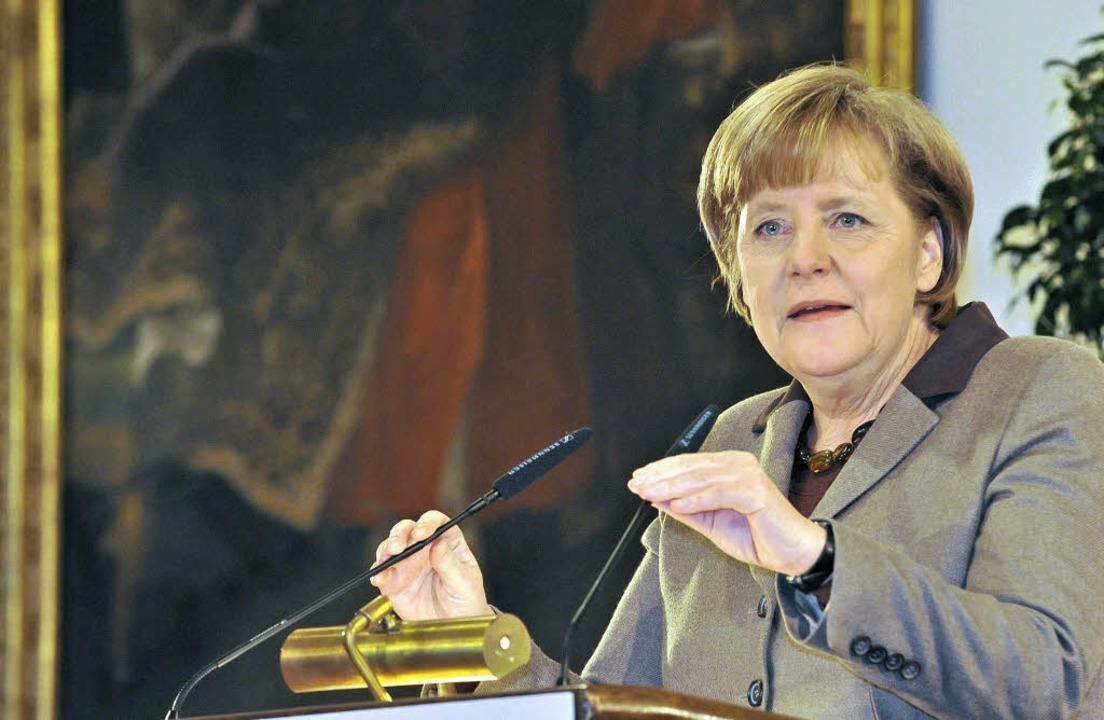Angela Merkel am Mittwochabend im Historischen Kaufhaus in Freiburg    Foto: Bamberger