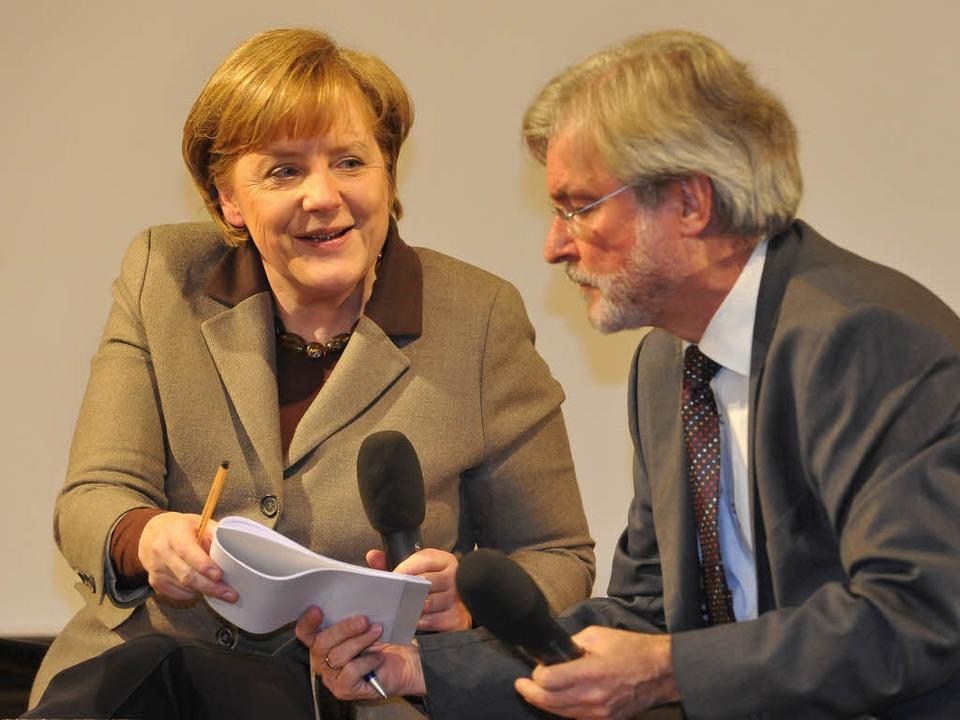Bundeskanzlerin Angela Merkel im Gespr...m Chefredakteur der Badischen Zeitung.  | Foto: Michael Bamberger