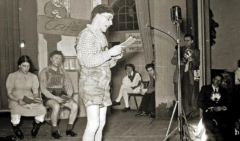 Zunftabend 1951 in der Stadthalle: Narrenschule   | Foto: Foto Hupfer/Archiv Narrengilde