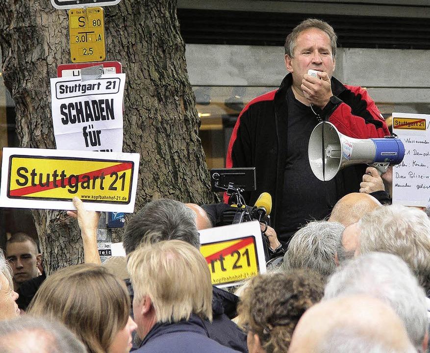 Politischer Aktivist: Deutschmann agitiert gegen Stuttgart 21.   | Foto: Kitzler