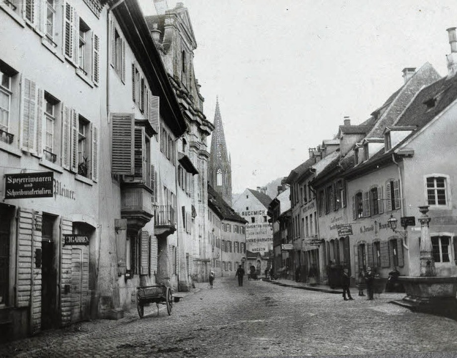 """Die historische Aufnahme der Bertoldst...kmich""""-Gebäude (heute BZ-Haus).     Foto: Augustinermuseum"""