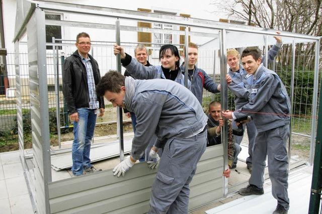 DSM-Azubis helfen bei Schuppen-Bau