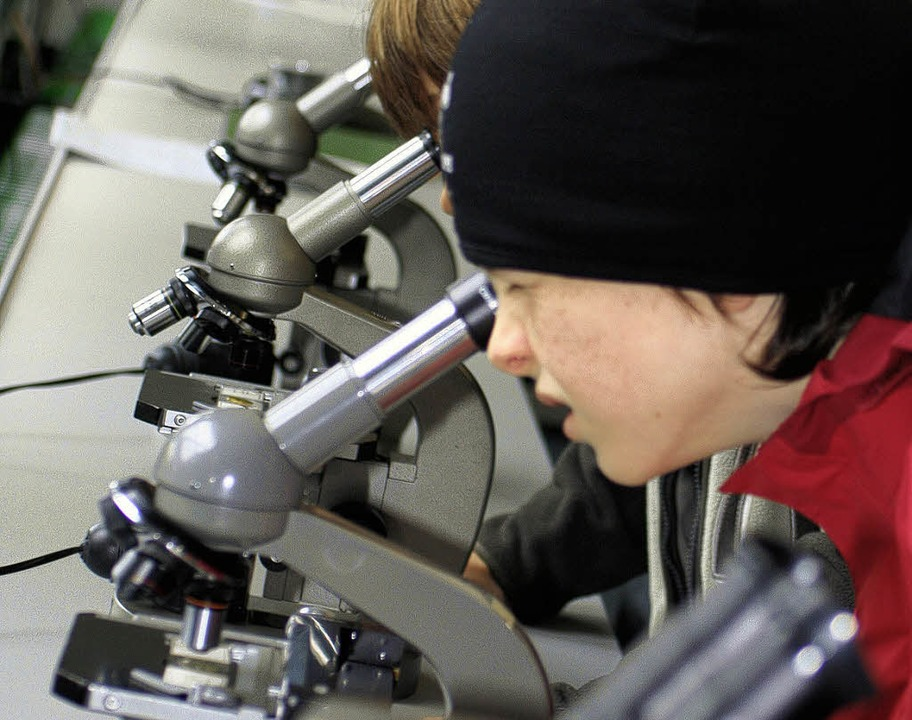 Spannend:  Schüler entdeckten mit dem Mikroskop den Mikrokosmos.  | Foto: Timea Lax