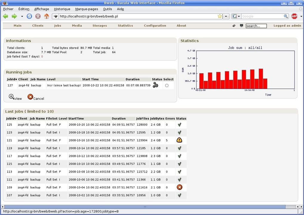 Bacula - Das Bacula Web Interface  | Foto: IDG