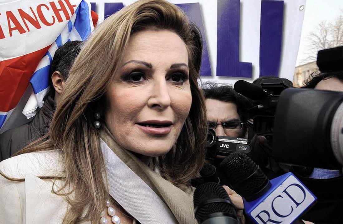 Santanché bei einem Wahlkampfauftritt in Rom   | Foto: afp