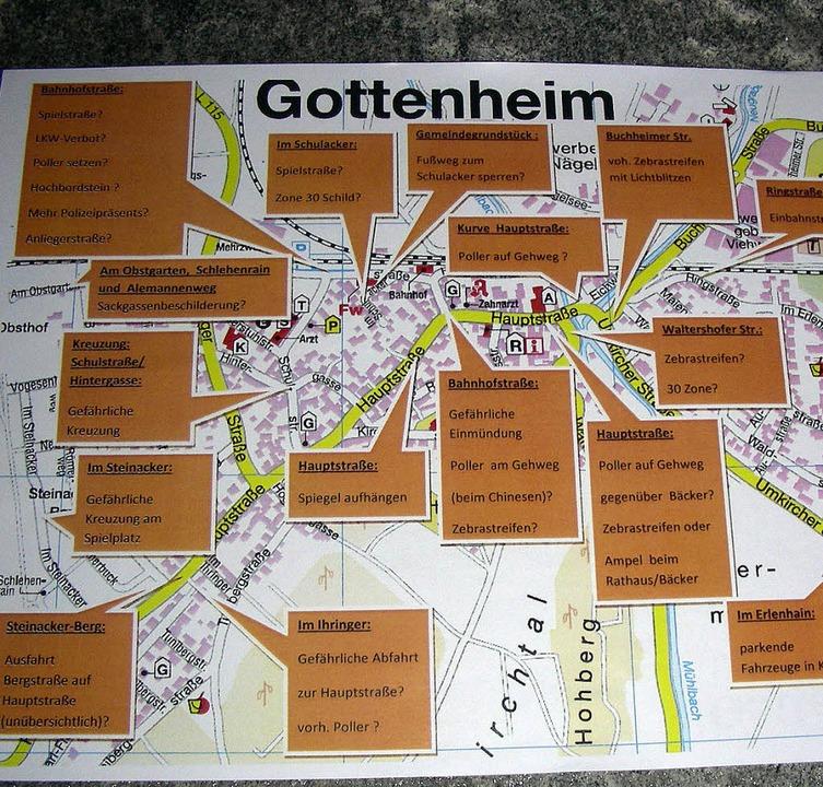 Jede Menge Stellen  im Gottenheimer St...iten, listete die  Verkehrsschau auf.   | Foto: mario schöneberg