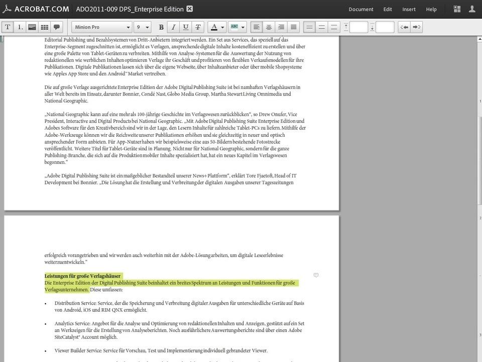 Adobe Acrobat.com - Eine webbasierte M...Texte zu erstellen und zu formatieren.  | Foto: IDG
