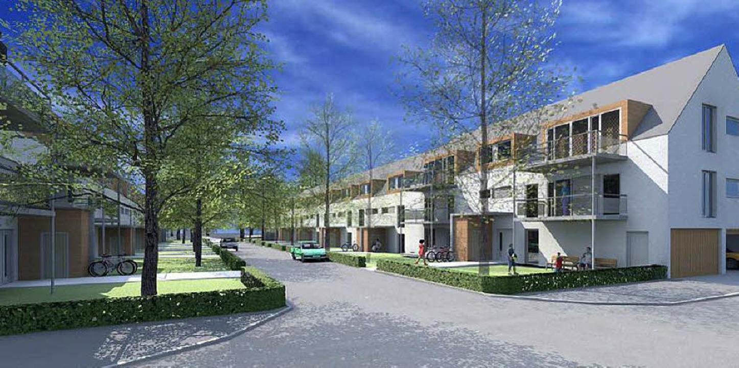 So sieht der Entwurf des Architekturbüros  Werkgruppe 1 aus Gutach aus.  | Foto: simulation: Freiburger Stadtbau