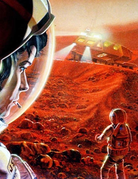 Diese Zeichnung zeigt Astronauten bei ...Planet ist eines der künftigen Ziele.   | Foto: dpa