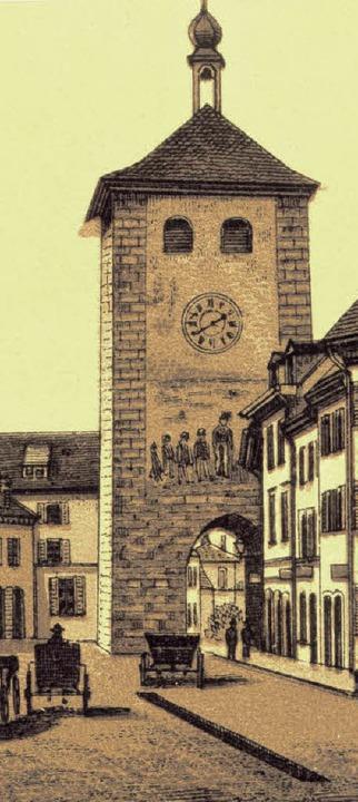 Schwabentor Freiburg auf einem Stich aus dem Jahre 1890  | Foto: Hans Sigmund