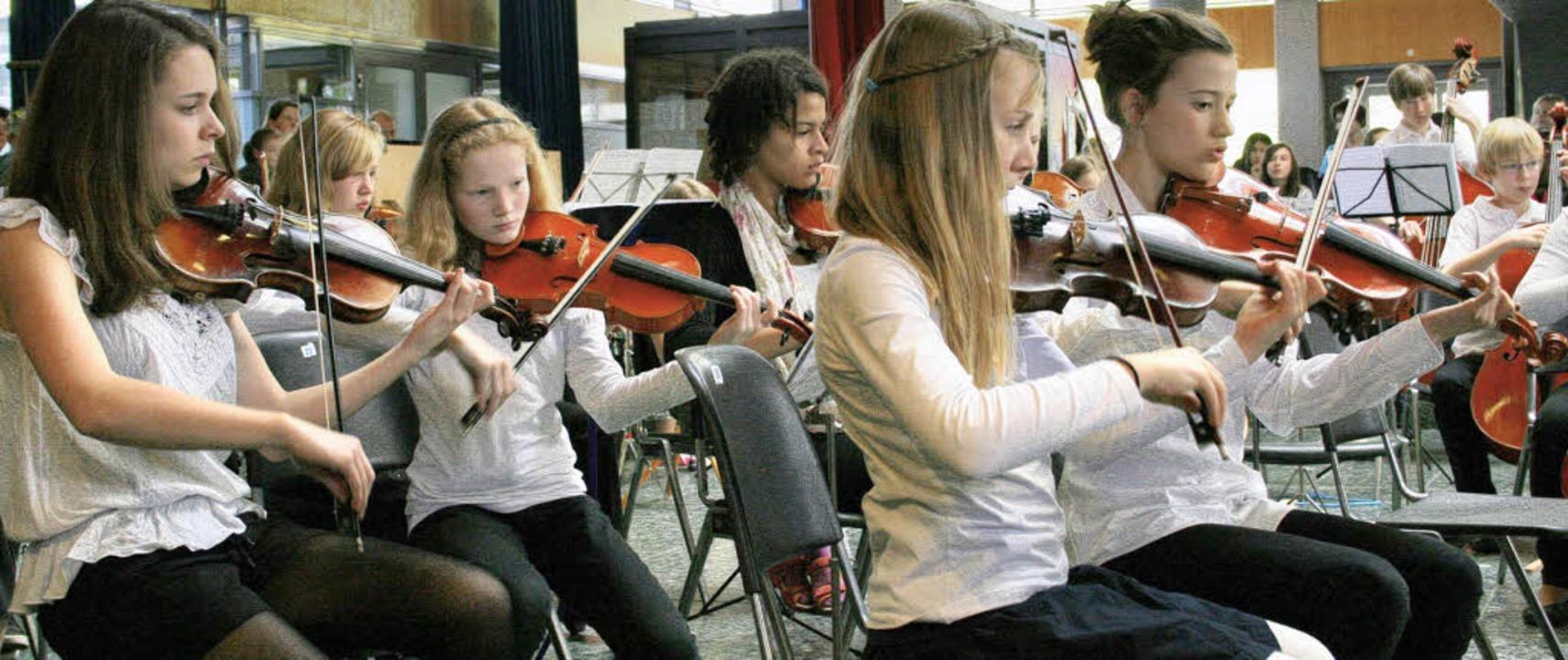 Konzentrierte Streicher: ein Teil des Faust-Sinfonie-Orchesters  | Foto: Martina Faller