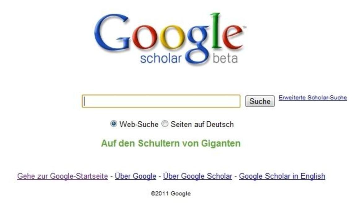 Google Scholar ist ein Google-Ableger für die Quellen-Suche.