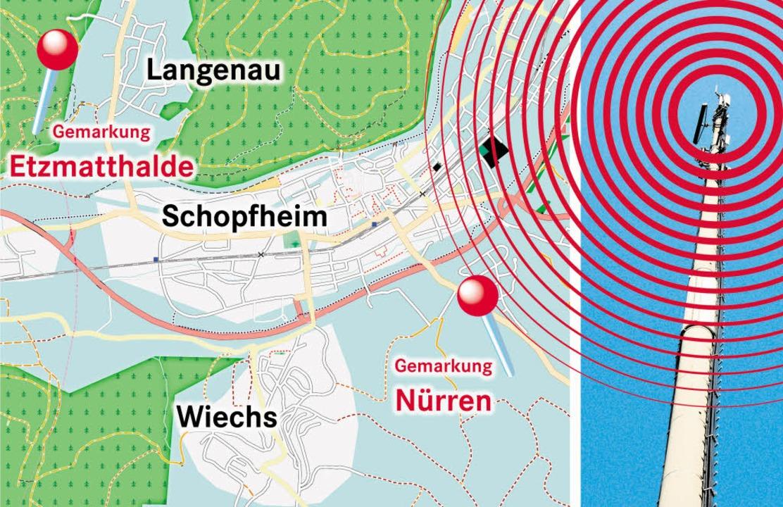 Es bleibt also dabei: Funken wird es künftig in Wiechs und Langenau.  | Foto: Kartengrundlage: openstreetmap.org