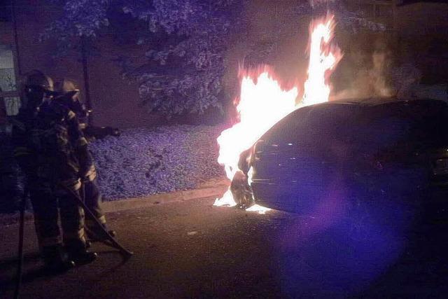 Geparkter Peugeot stand in Flammen