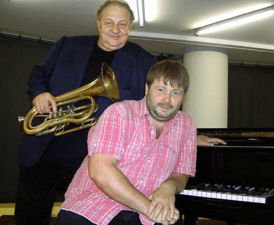 Eine humorvolle Konzertlesung gaben de...und der Jazzpianist Patrick Bebelaar.   | Foto: Roswitha Frey
