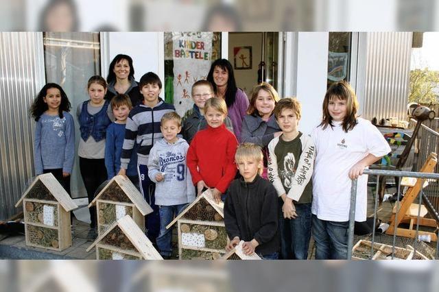 Kinder bauen kleine Hotels für Bienen und Co.