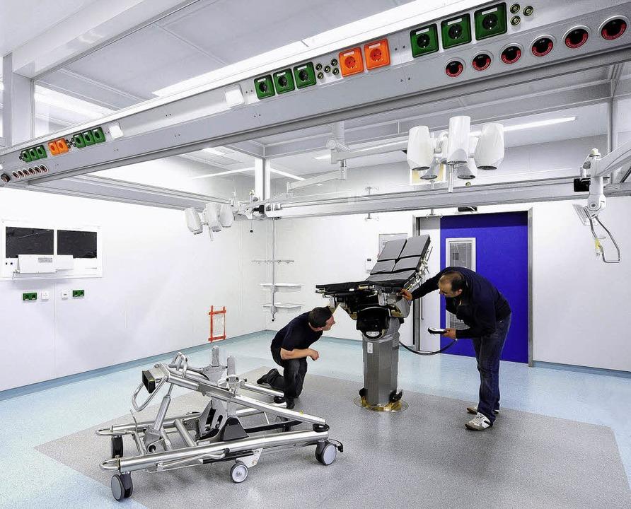 Die letzten Bauarbeiten laufen im neuen OP-Trakt des Lorettokrankenhauses.   | Foto: Thomas Kunz