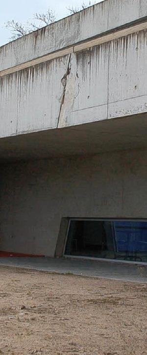 Der Hadid-Bau LF one im Dreiländergart...r den Stand der Arbeiten informierte.   | Foto: Fillisch