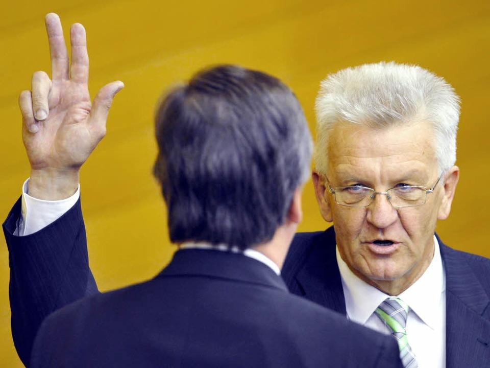 Winfried Kretschmann, hier beim Amtsei... von Baden-Württemberg gewählt worden.  | Foto: dpa