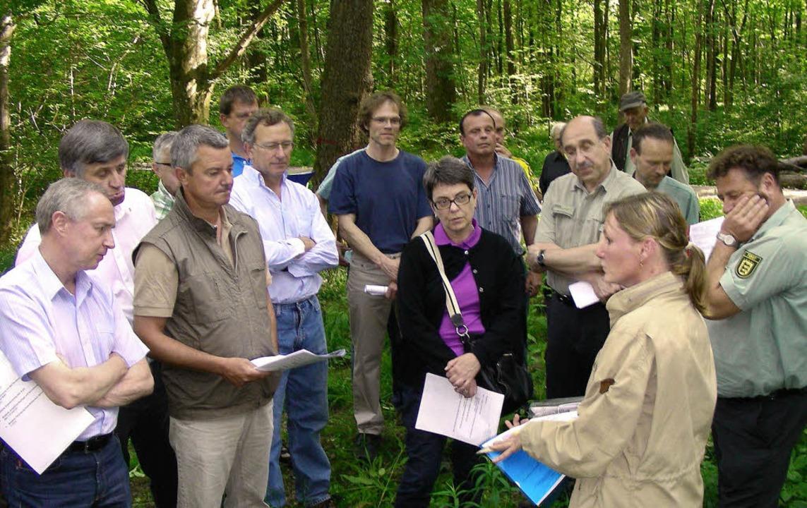 Die Forsteinrichterin Petra Binder erl...bert Stiefvater vom Forstamt Staufen.   | Foto: mario schöneberg