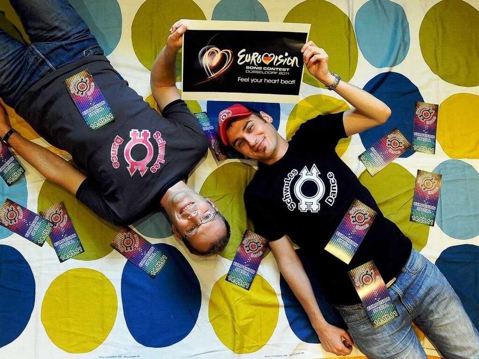 Experten in Sachen Eurovision Song Con...rechts) von der Rosa Hilfe in Freiburg  | Foto: INGO SCHNEIDER