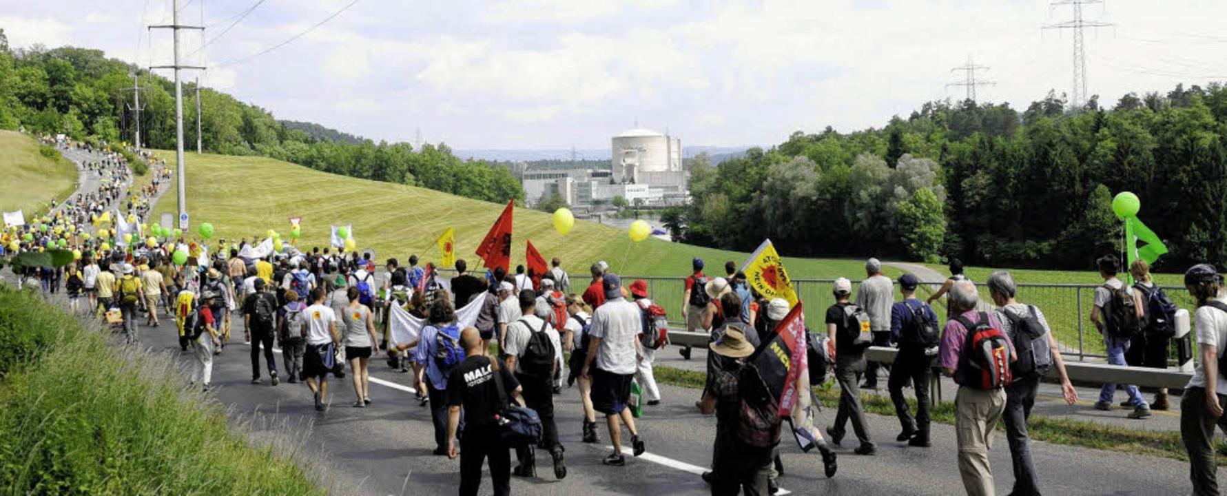 Zu Tausenden strömten Menschen am Sonn...egen die Atomenergie zu demonstrieren.    Foto: dpa