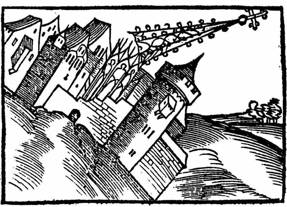 Katastrophenfantasie:  Wie ein Erdbeben den Turm knickt (Anfang 16. Jh.)  | Foto: BZ