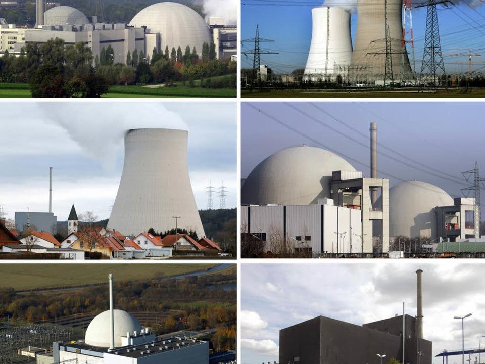 Die vor 1980 gebauten Atomkraftwerke i...hland, die momentan abgeschaltet sind.  | Foto: dpa