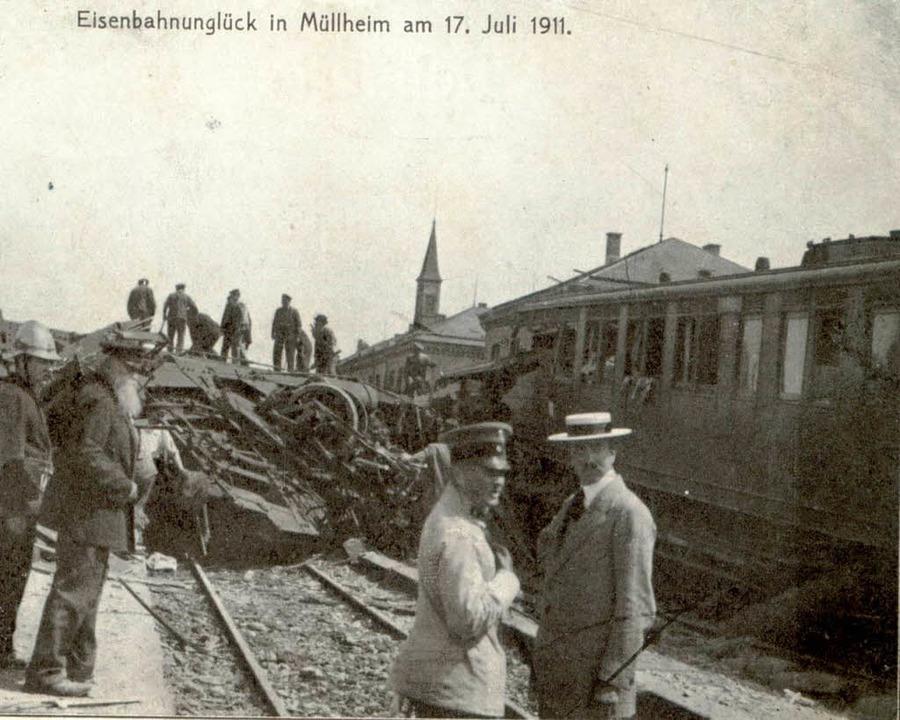 Bauarbeiten im Bahnhof und überhöhte G...on, die die Waggons entgleisen ließen.  | Foto: Markgräfler Museum / Privat