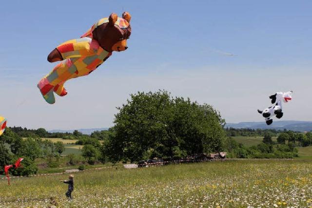 Bunte Drachen steigen in die Luft