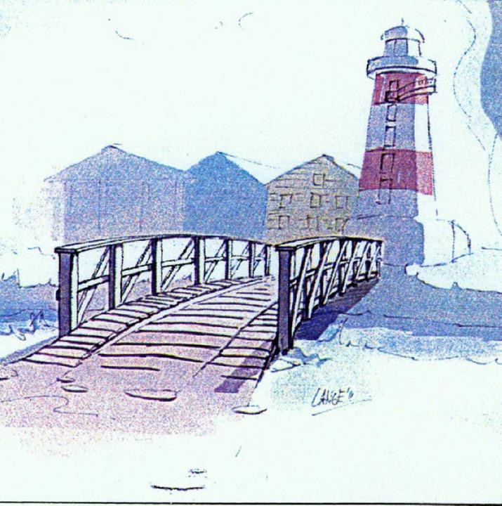 Die Brücke über die Elz zum Leuchtturm sorgt für Verdruss im Gemeinderat.   | Foto:  Europa-Park/ Repro: BZ