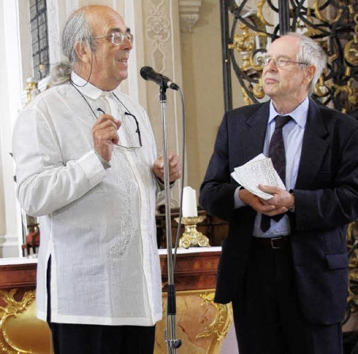 Guy Bovet (links)  mit Ulrich Eckardt beim Orgelkonzert in St. Peter.   | Foto: Hans Jürgen Kugler