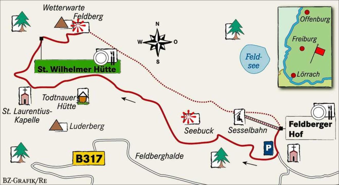 Karte: St. Wilhelmer Hütte auf dem Feldberg    Foto: BZ