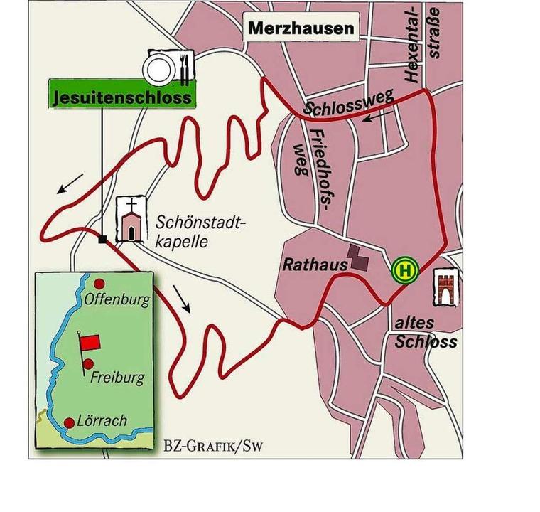 Karte: Das Restaurant Jesuitenschloss ...des Schönbergs oberhalb von Merzhausen  | Foto: bz