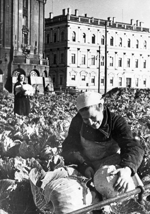 September 1942: Die Menschen im von de...en Kohl auf einem Platz der Stadt an.   | Foto: akg