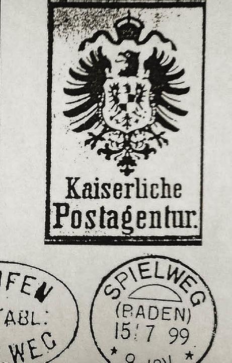 """1899 avancierte die """"Posthülfste...ostagentur"""" mit eigenem Stempel.    Foto: Manfred Lange"""