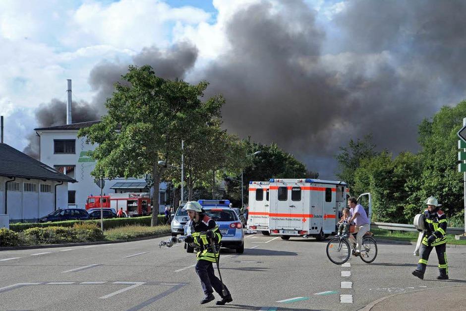 In den Gutta-Werken in Schutterwald hat es einen Großbrand gegeben. (Foto: Michael Heuberger)