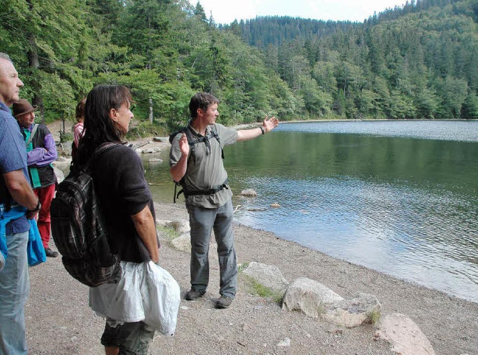 Förster Martin Lipphardt erklärt seiner Wandergruppe den Feldsee.   | Foto: Regine Ounas-Kräusel