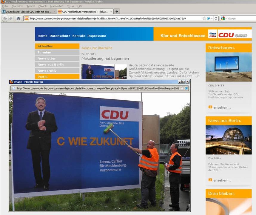 C wie Zukunft: Die CDU Mecklenburg-Vor...ihrer Website das neue Wahlplakat vor.  | Foto: Screenshot: www.cdu-mecklenburg-vorpommern.de