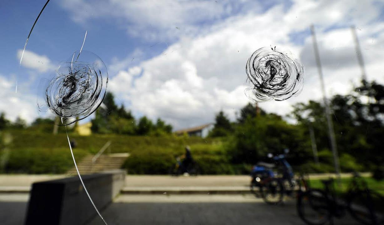 Gelöchert: Hohen Schaden haben bislang...ter am Regierungspräsidium verursacht.  | Foto: Schneider