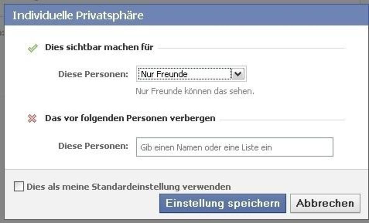 Facebook - Wirklich interessant wird e...g gleich als Standardeinstellung fest.