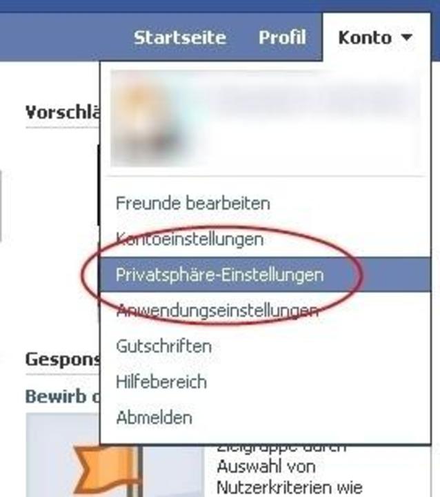 "Facebook - Unter ""Konto, Privats...llungen, Profilinformationen""..."