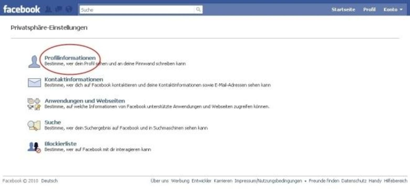 Facebook - ... befindet sich eine wich...linstanz Ihrer privaten Informationen.