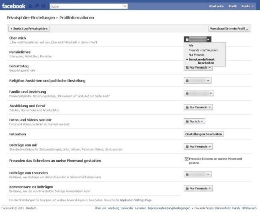 Facebook - Hier legen Sie fest, wer was von Ihrem Profil sehen darf.