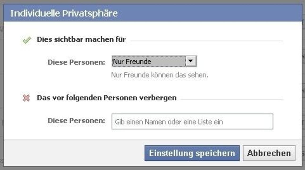 """Facebook - Im Fenster """"Benutzerdefinie... oder schließen einzelne Personen aus."""