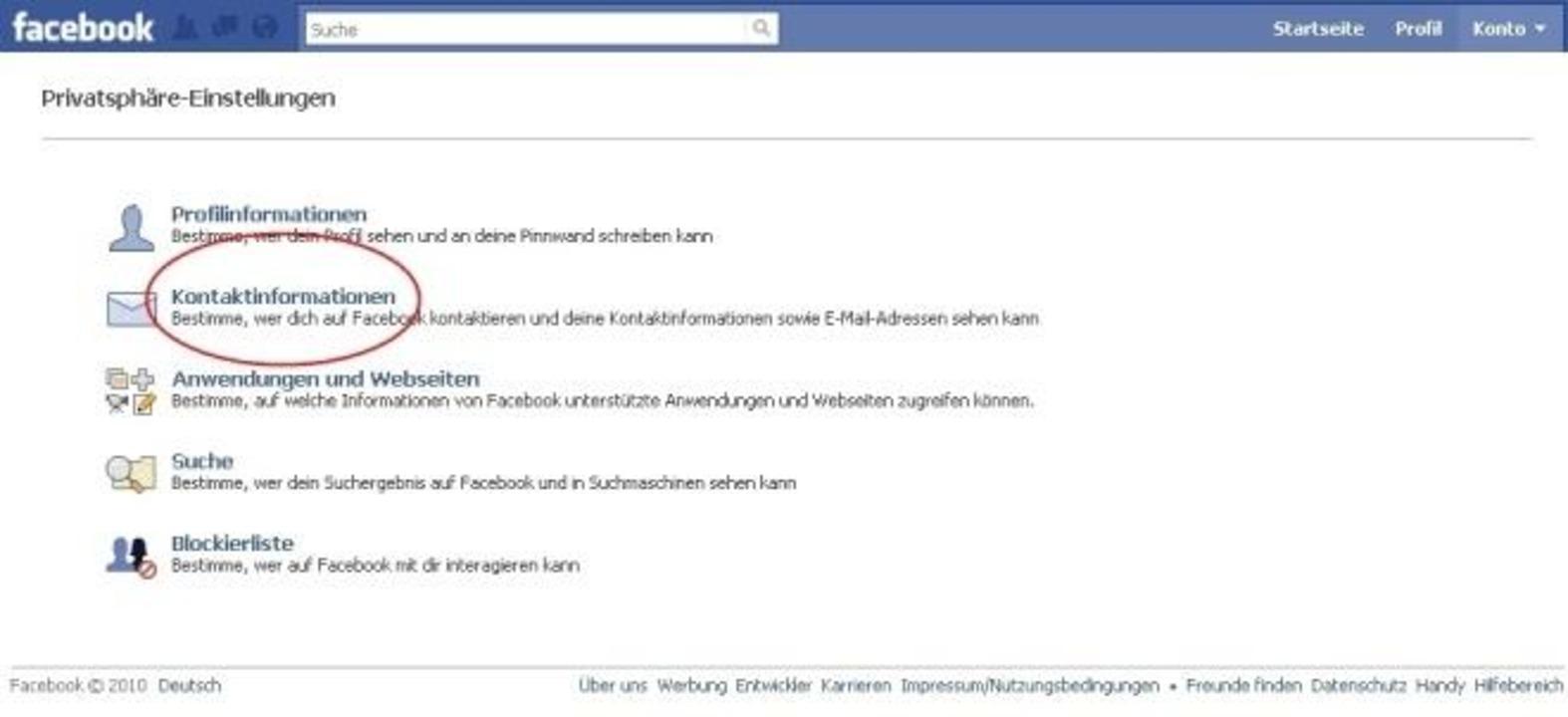 """Facebook - Unter """"Konto, Privats...nlich wie bei den Profilinformationen."""