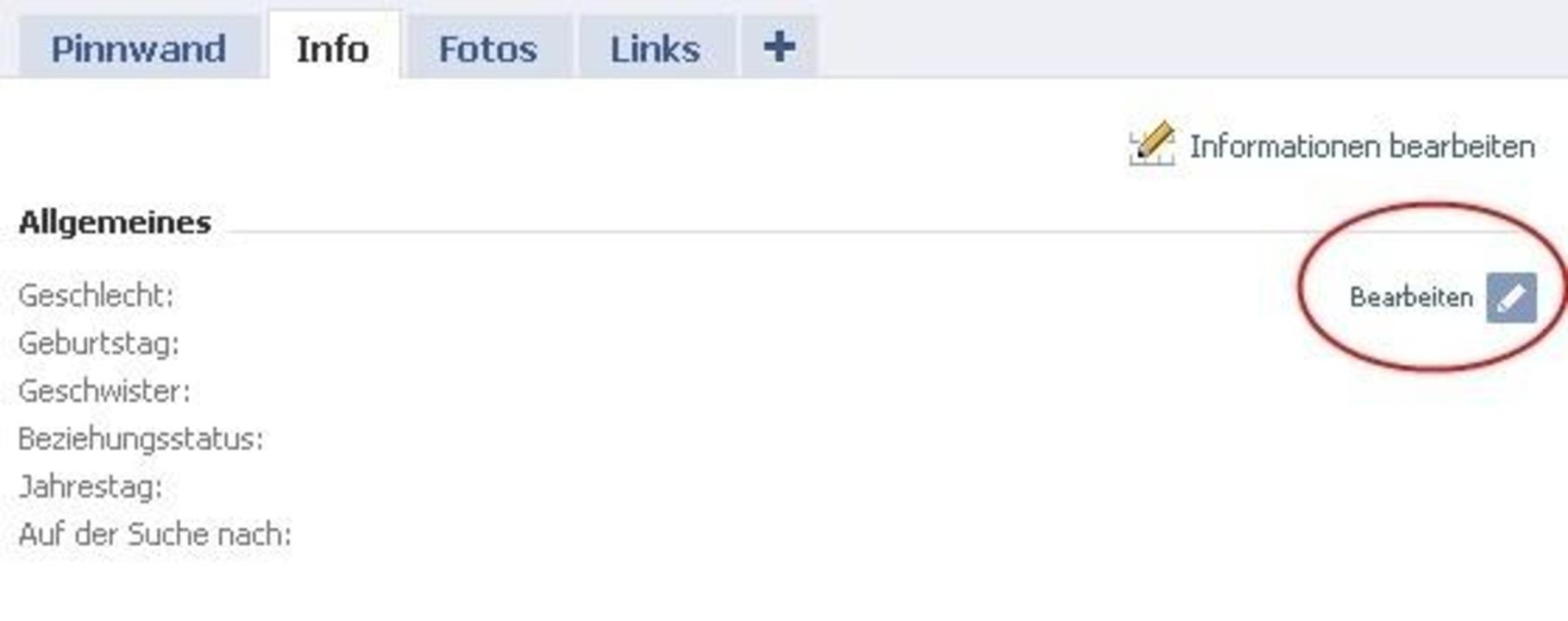 """Facebook - Viele Einstellungen können ...on """"Bearbeiten"""" erscheint."""