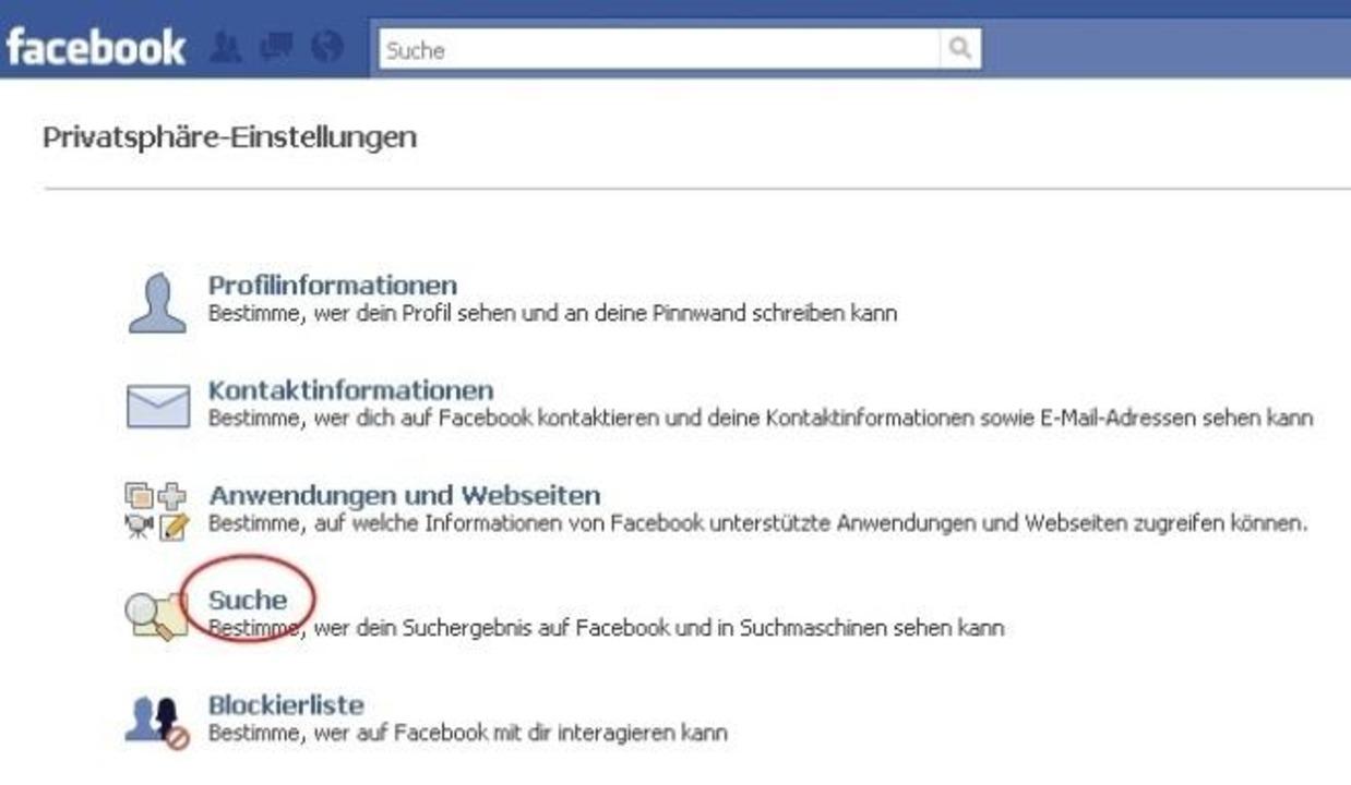 Facebook - In den Privatsphäre-Einstel... Ihren Namen bei Facebook finden darf.